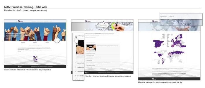 Muestra de algunos detalles del diseño del sitio web de M&M Profuture Training